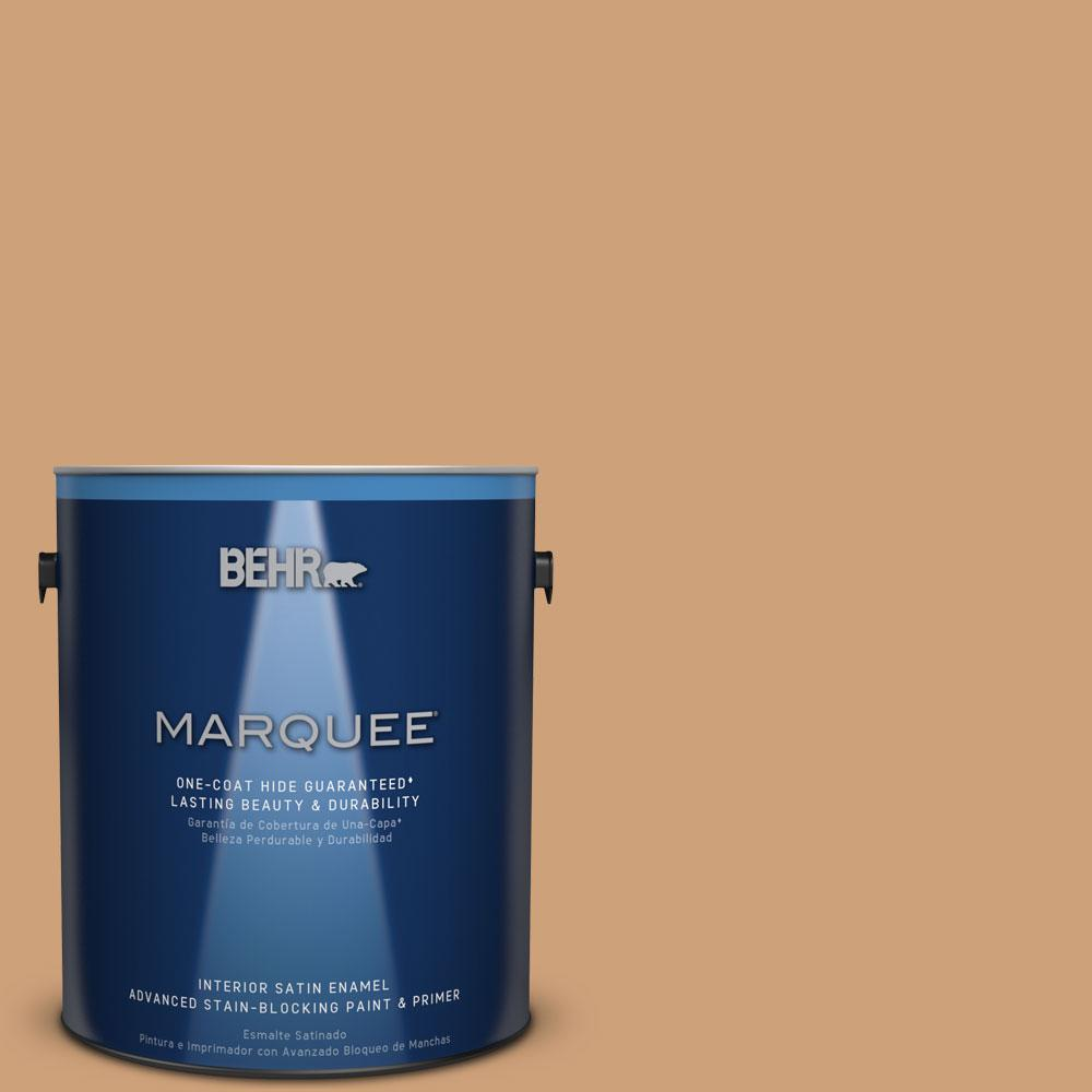 1 gal. #PPU4-16 Kenya One-Coat Hide Satin Enamel Interior Paint