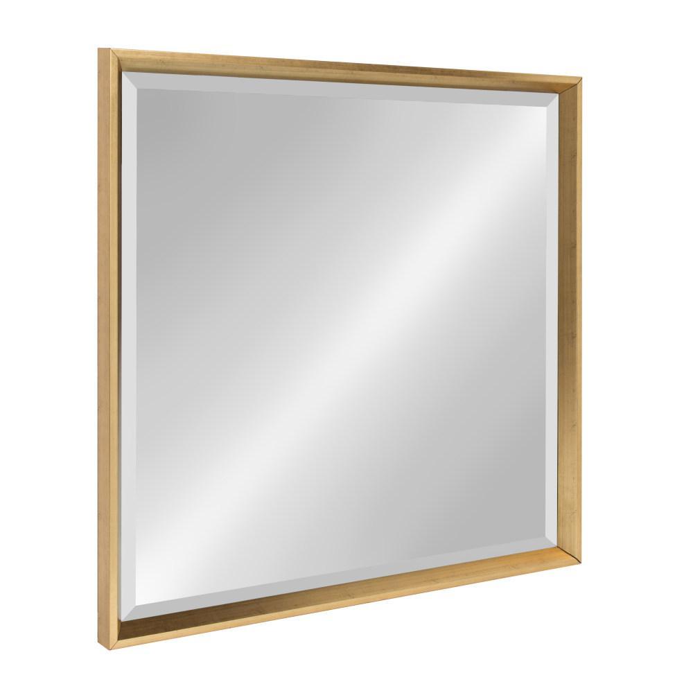 Calter 26 in. W x 26 in. H Framed Square Beveled Edge Bathroom Vanity Mirror in Gold