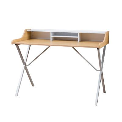48 in. Rectangular Oak White Writing Desk with Open Storage