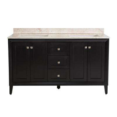 Austell 61 in. W x 22 in. D x 38.75 in. H Vanity in Black with Stone Effects Vanity Top in Dune with White Basin