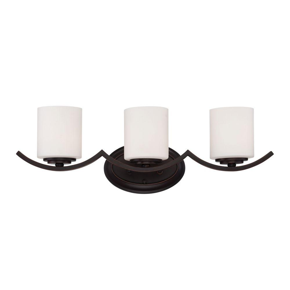 Hampton Bay Betton 3-Light Oil Rubbed Bronze Vanity Light with Opal White Glass Cylinder Shades