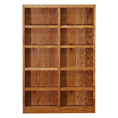Midas Double Wide Wood Bookcase, 10 Shelves, 72 in. H, Oak Finish