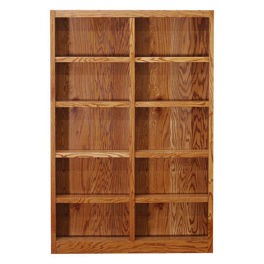 Midas Double Wide 10-Shelf Bookcase in Dry Oak