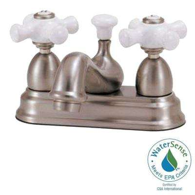Bradsford 4 in. 2-Handle Bathroom Faucet in Oil Rubbed Bronze with Porcelain Cross Handle