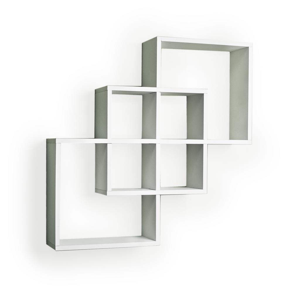 Danya B Contempo 23 5 In W X H White Laminated Mdf Intersecting Squares Decorative Wall Shelf Ff6013w The Home Depot