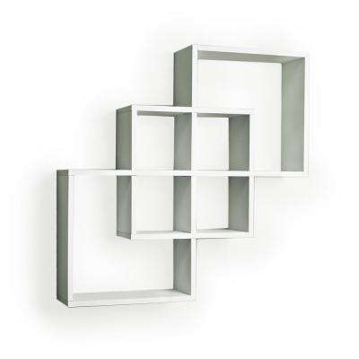 Contempo 23.5 in. W x 23.5 in. H White Laminated MDF Intersecting Squares Decorative Wall Shelf
