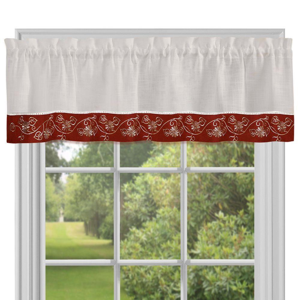 Burgundy Kitchen Curtains: Achim Semi-Opaque Oakwood Burgundy Polyester Valance