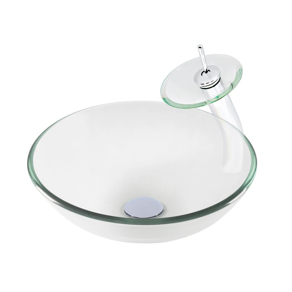 Vessel Sink in Clear with Faucet in Chrome-TSFS-402417003CH-C - The on clear glass sink, clear kitchen counter, clear kitchen cabinets, clear bathroom sink,