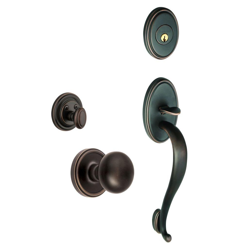 Grandeur Georgetown Single Cylinder Timeless Bronze S-Grip Handleset with Fifth Avenue Knob