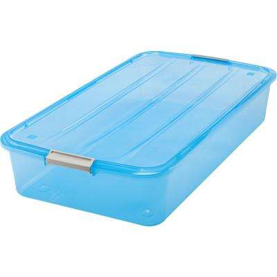 50-Qt. Underbed Buckle Up Storage Box in Blue (6-Pack)