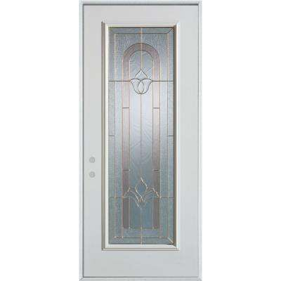 37.375 in. x 82.375 in. Traditional Brass Full Lite Prefinished White Right-Hand Inswing Steel Prehung Front Door