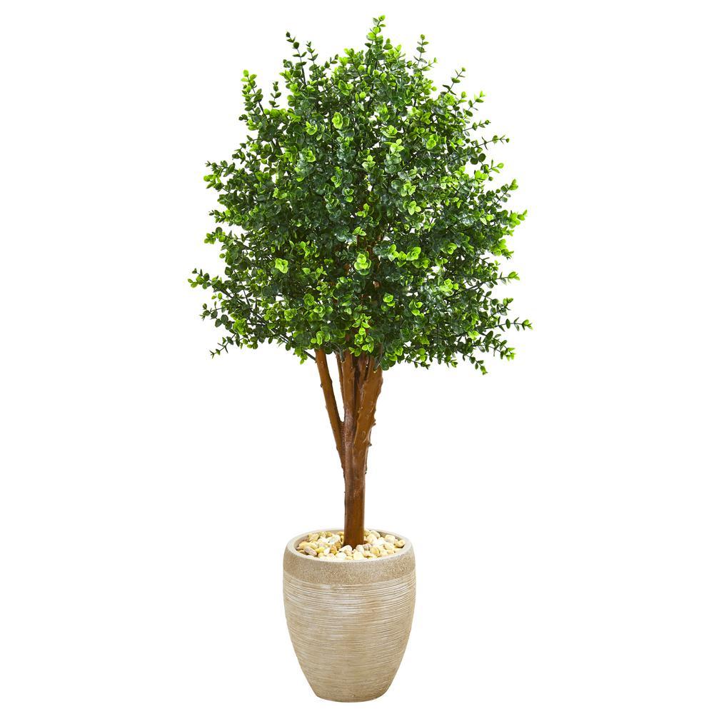 Indoor/Outdoor 4.5 ft. Eucalyptus Artificial Tree in Sandstone Planter UV Resistant