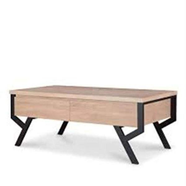 Amelia 47 in. Natural/Black Large Rectangle Wood Coffee Table