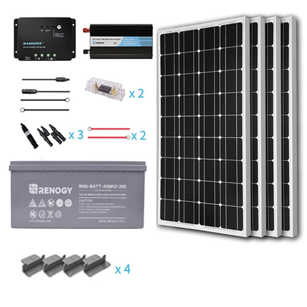 Renogy 400 Watt Starter Complete Solar Panel Kit Mono Off