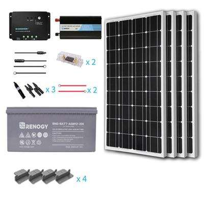 400-Watt Starter Complete Solar Panel Kit Mono Off-Grid Solar with Deep Cycle AGM Battery