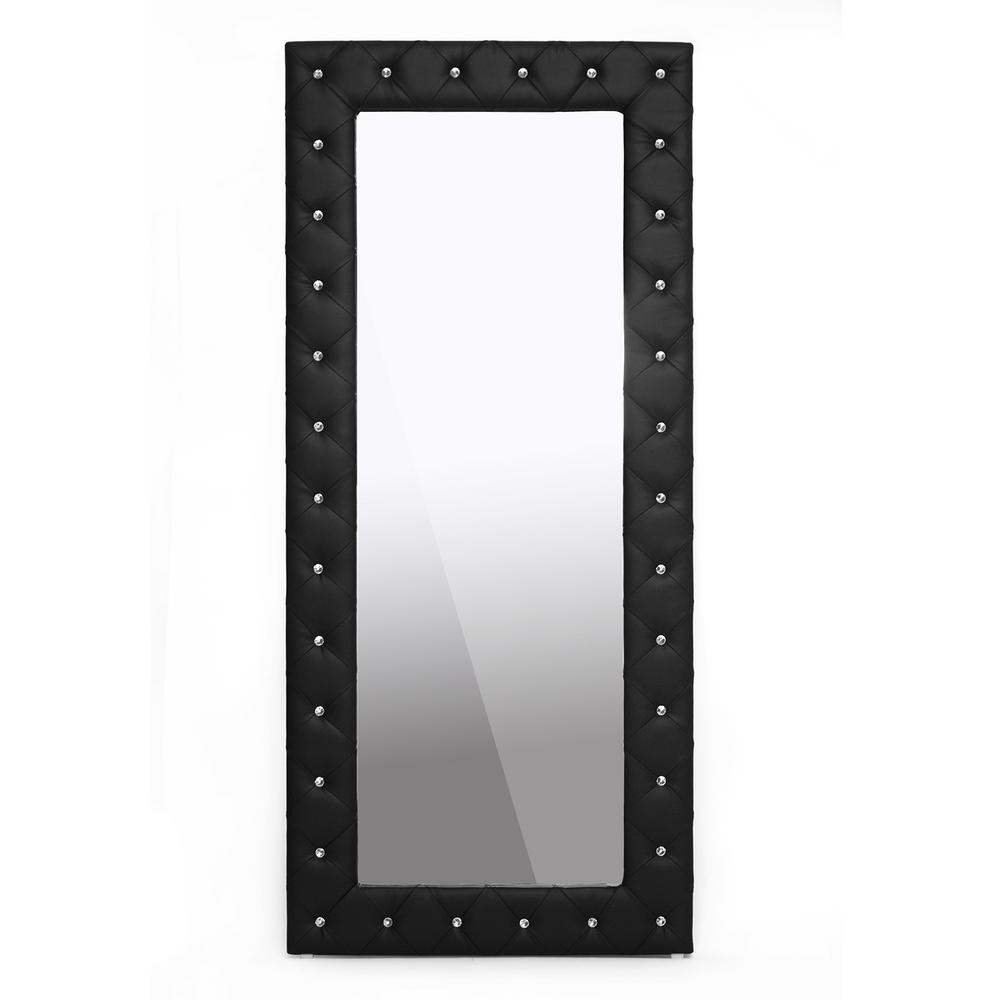 Black Faux Leather Mirrors