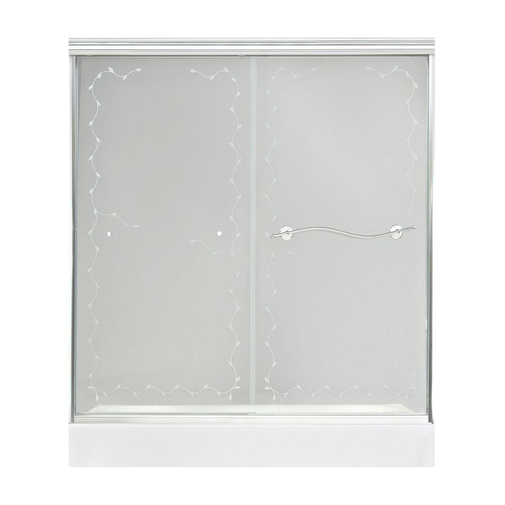 MAAX Vine 57 in. to 59-1/2 in. W Shower Door in Chrome with 6MM Clear Vine Glass-DISCONTINUED