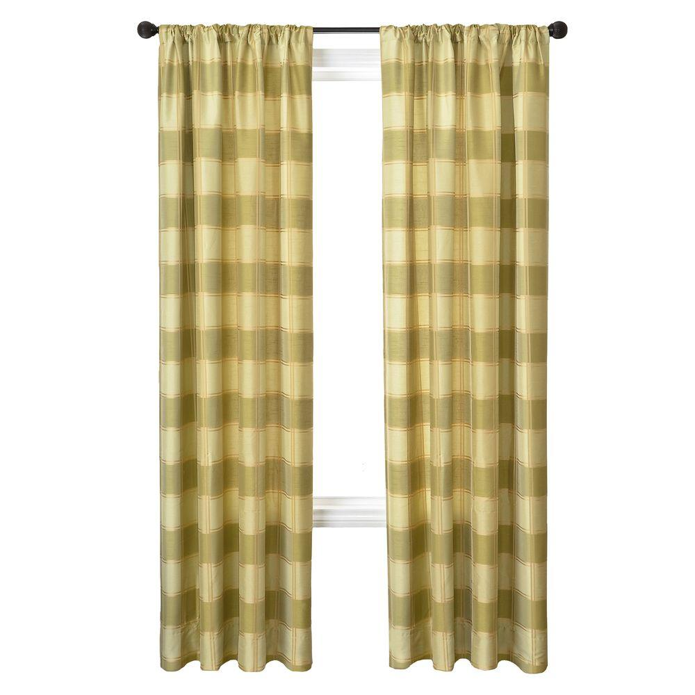 Home Decorators Collection Sheer Plaid Celery Diplomat Rod Pocket Curtain - 55 in.W x 84 in. L