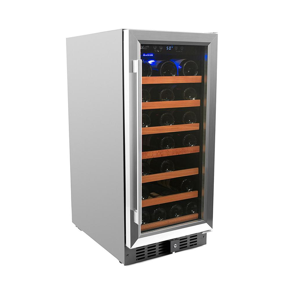 34 Bottle Single Zone Built In Wine Cooler Stainless Steel