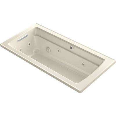 Archer 66 in. Rectangular Drop-in Whirlpool and Air Bath Bathtub in Almond