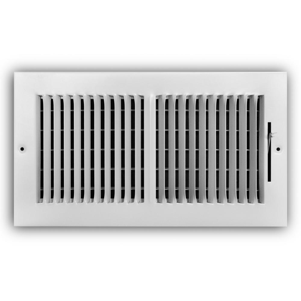 12 in. x 6 in. 2-Way Steel Wall/Ceiling Register in White