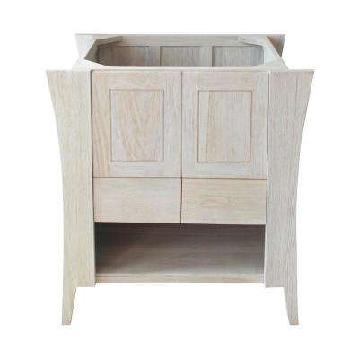 Curvature 30 in. W Teak Vanity Bath Cabinet Only in Driftwood