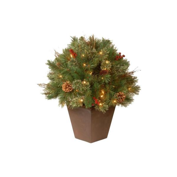 24 in. Glistening Pine Topiary Bush with 50 Clear Lights