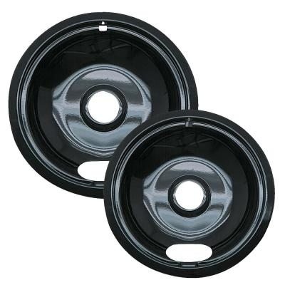 6 in. Small and 8 in. Large A Style Drip Pan in Black Porcelain (2-Pack)