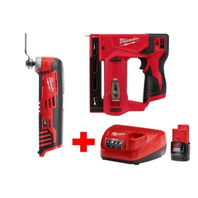 M12 12-Volt Lithium-Ion Cordless 3/8 in. Crown Stapler and Multi-Tool Combo Kit with (1) 2.0Ah Battery and Charger
