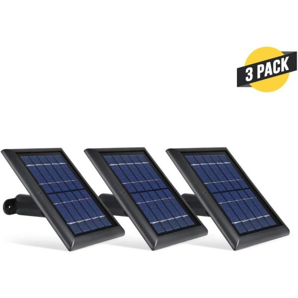 Solar Panel Compatible with Ring Spotlight Cam Battery and Ring Stick Up Cam Battery (3 Pack, Black)