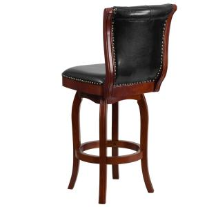 Peachy Carnegy Avenue 30 In High Cherry Wood Barstool With Button Pabps2019 Chair Design Images Pabps2019Com
