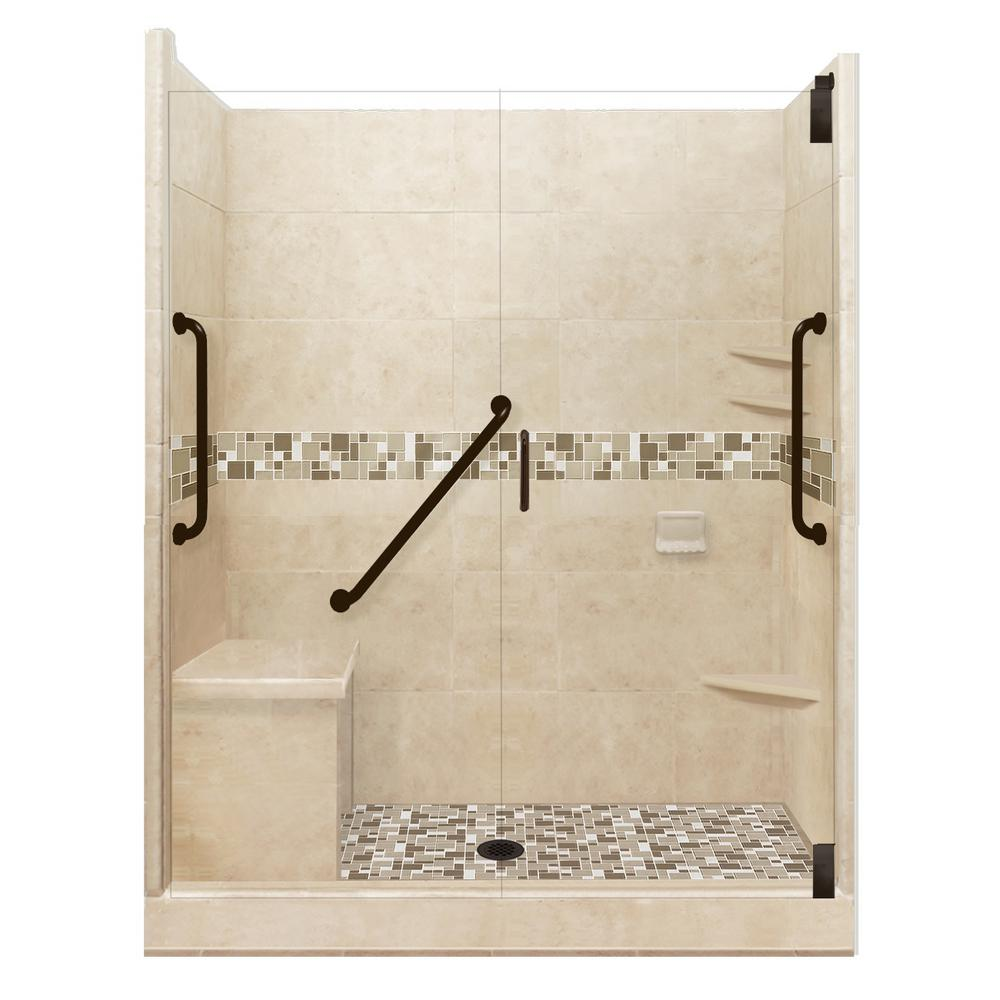 American Bath Factory Tuscany Freedom Grand Hinged 32 in. x 60 in. x 80 in. Center Drain Alcove Shower Kit in Brown Sugar and Old Bronze