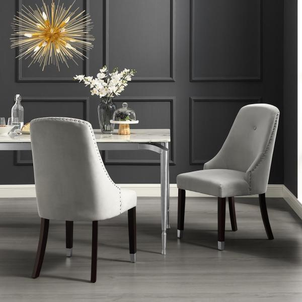 Inspired Home Cora Light Grey/Silver Velvet Metal Tip Leg Dining Chair