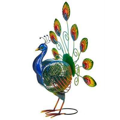 22 in. Peacock Figurine Fan