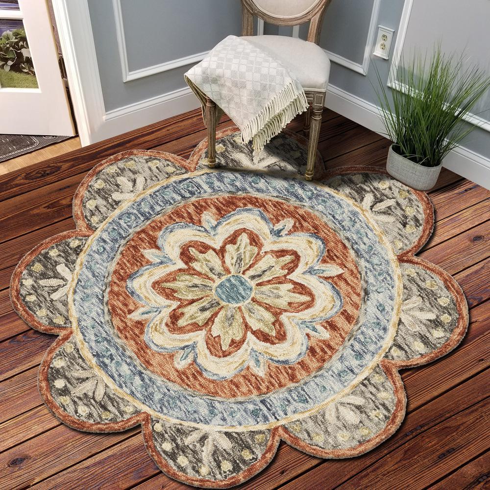 Dazzle Floral Rust 6 ft. x 6 ft. Round Indoor Area Rug