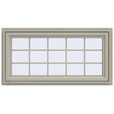47.5 in. x 23.5 in. V-4500 Series Awning Vinyl Window with Grids - Tan