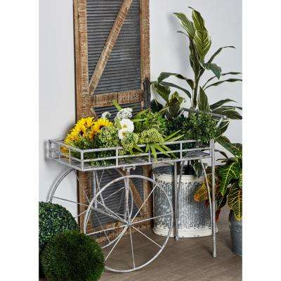 Distressed Gray Iron 2-Wheeled Cart Planter