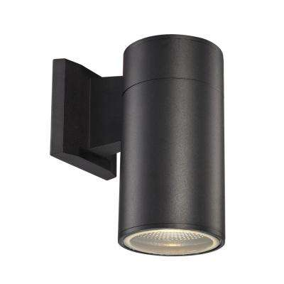 Compact 1-Light Black Integrated LED Outdoor Wall Mount Cylinder Light
