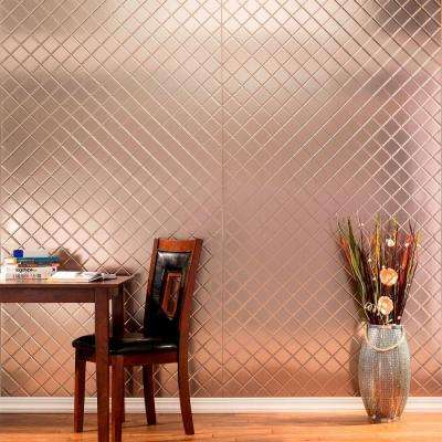 96 in. x 48 in. Quilted Decorative Wall Panel in Crosshatch Silver