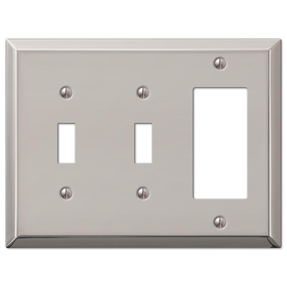 Metallic 3 Gang 2-Toggle and 1-Rocker Steel Wall Plate - Polished Nickel