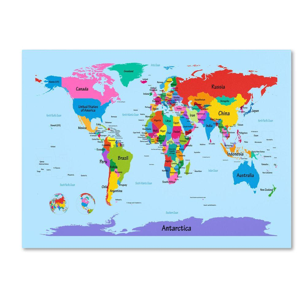 Trademark Fine Art 16 in. x 24 in. Childrens World Map Canvas Art
