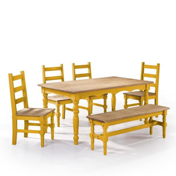 Jay 6 Piece Yellow Wash Solid Wood Dining Set With 1 Bench 4 Chairs And Table