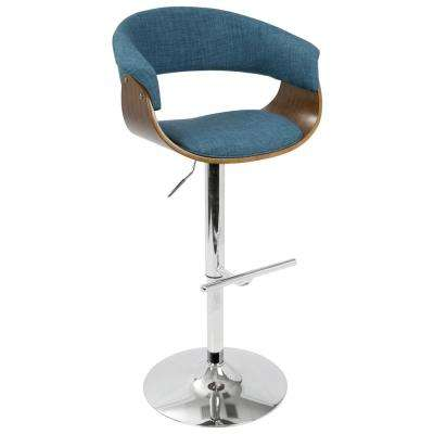 Vintage 32 in. Mod Adjustable Barstool in Walnut and Blue