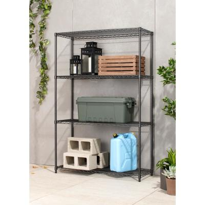 PRO 18 in. x 48 in. x 72 in. Black Anthracite 4 Tier Garage Shelving Unit