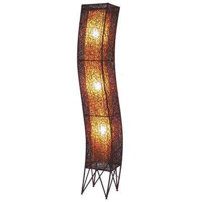 Star 79 in. Amber Brown Floor Lamp In Unique S-Shape