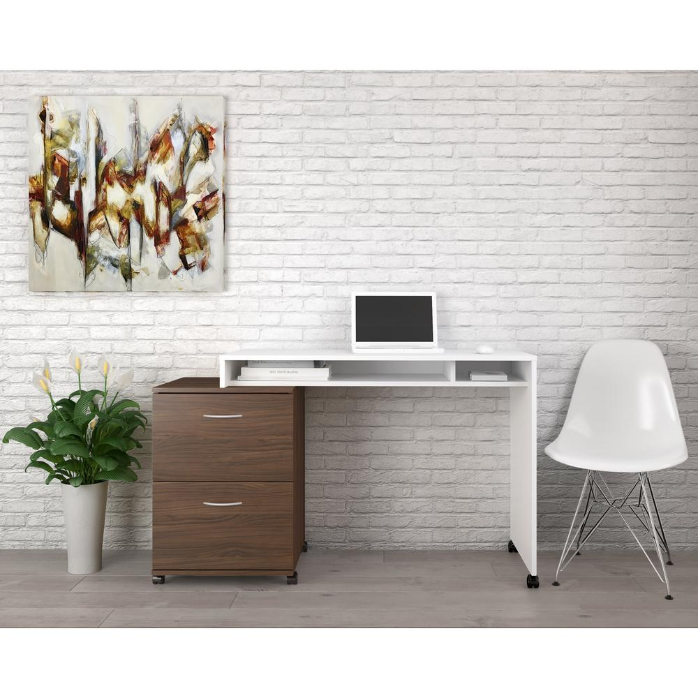 Essentials White And Walnut Desk Panel With 2 Drawer Filing Cabinet