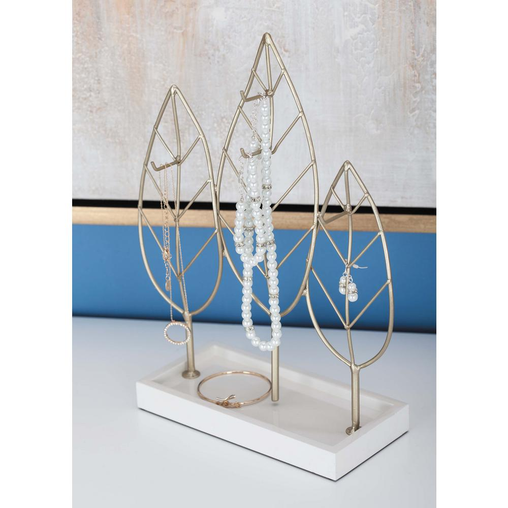 Modern Gold and White, Silver and Black Leaf-Shaped Jewelry Holder (Set