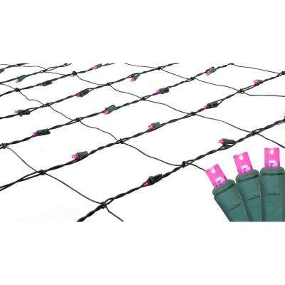 4 ft. x 6 ft. Pink LED Net Style Christmas Lights with Green Wire