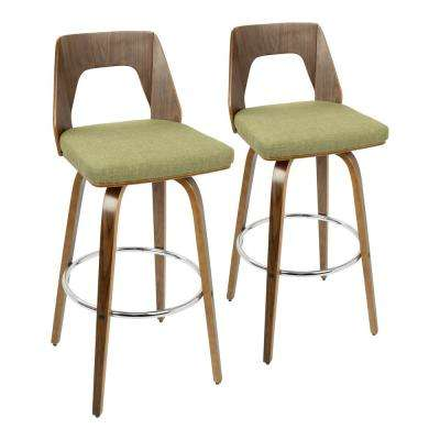 Trilogy 30 in. Walnut and Green Fabric Bar Stool (Set of 2)