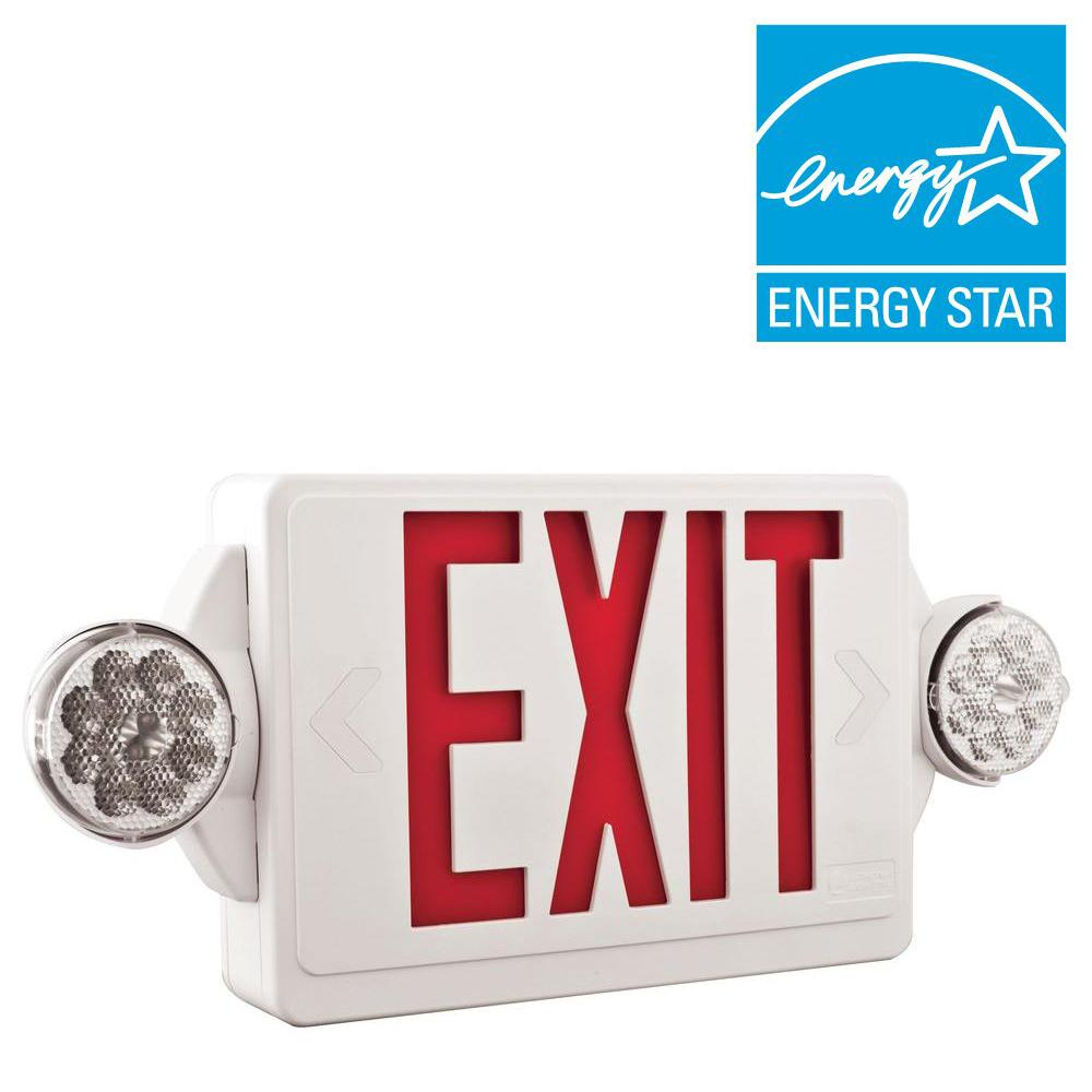 2-Light Plastic LED White Exit Sign/Emergency Combo with LED Heads and